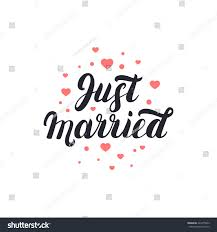 just married cards just married lettering hearts background stock vector