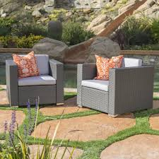 verin outdoor grey wicker club chair with silver water resistant