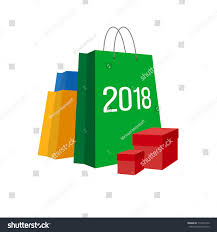 new year shopping new year shopping set colorful paper stock vector 712503142