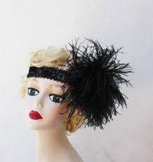great gatsby hair accessories items similar to black feather headband great gatsby hair