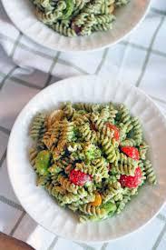 four ingredient pesto pasta salad bowl of delicious