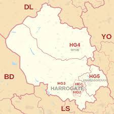 map uk harrogate hg postcode area
