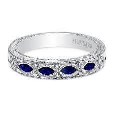 wedding ring white gold kirk kara 14k white gold blue sapphire and diamond dahlia wedding band