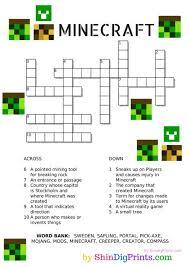 free printable minecraft crossword puzzle