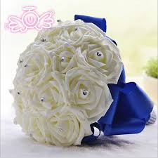 wedding flowers royal blue 2015 new bridal artficial wedding bouquets decoration bridesmaid