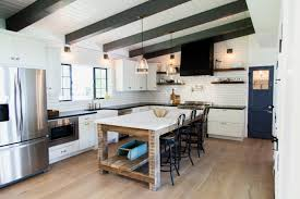 custom barn wood island with carrara marble counter top by