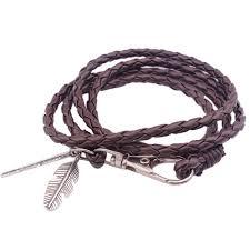 leather leaf bracelet images Popular braided rope multilayer genuine leather leaf women 39 s retro jpg