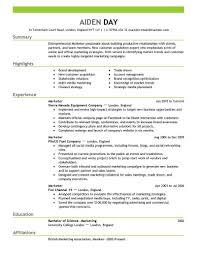 marketing resume format entrepreneurial marketer resume template sle marketing resume
