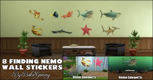 mod the sims finding nemo wall stickers standalone object with these fun wall decals you can decorate everything your walls windows pool