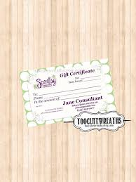 digital download gift certificate business card size scentsy