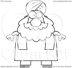 cartoon clipart of a black and white chubby muslim sikh man