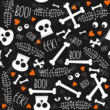 halloween repeating background patterns halloween related skulls bones eyes hearts and leaves on dark