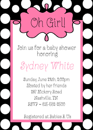 oh baby shower black white polka dots pink invitations baby