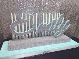 sweet 16 candelabra tiff blue theme with glittered base