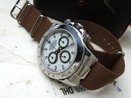 rolex daytona 116520 on solid nato end link custom made for rolex