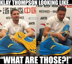 Shoes Meme - nba memes on twitter klay thompson looks thrilled with his new