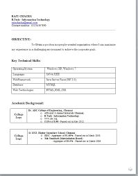 resume for information technology freshers it information