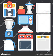 kitchen appliances household home appliances set modern flat