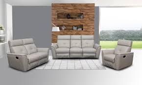 Livingroom Furniture Sets 8501 Recliner Light Grey Leather Modern 3 Pcs Sets Living Room