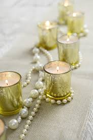 gold mercury glass votive holders and 12 white unscented candles