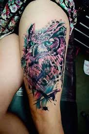 owl thigh design shortlist tattoos