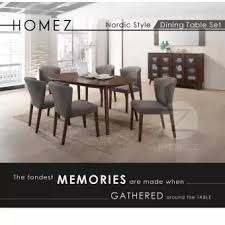 solid oak dining table and 6 chairs homez nordic style solid wood dining table dt806 5010 with 6 chairs