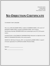 10 free sample no objection certificate templates u2013 printable samples