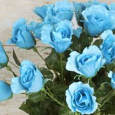 Teal Roses 48 Pcs Silk Roses Single Stems Flowers Wedding Bouquets
