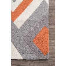 Grey And Orange Rug Nuloom Handmade Geometric Triangle Orange Rug 7 U00276 X 9 U00276 Free
