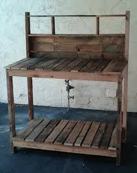 bench made out of pallets dishfunctional designs salvaged wood pallet potting benches