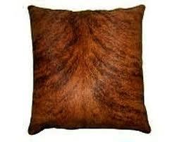 Cowhide Pillows Natural Medium Dark Brindle Cowhide Pillow