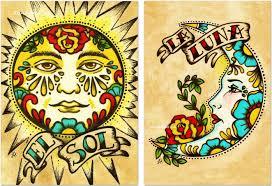folk prints sun moon loteria el sol la 5 x