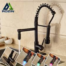 kitchen faucets oil rubbed bronze finish 75 00 buy led light kitchen faucet swivel spout spring vessel