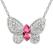brand necklace aliexpress images Austria crystal small butterfly pendant brand necklace kids girl jpg