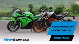honda sbyar kawasaki ninja 300 vs ktm duke 390 drag race motorbeam youtube