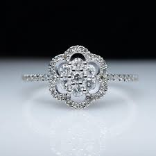 snowflake engagement ring flower snowflake halo diamond engagement ring in 14k white