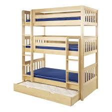 Maxtrix HOLY Triple Bunk Bed In Natural With Slat Bed Ends - Maxtrix bunk bed