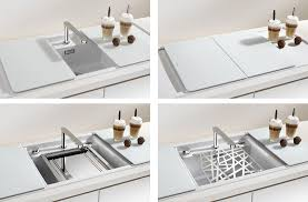 White Kitchen Sink Faucets Minimalist Kitchen Sinks With Movable Cutting Board And