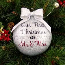personalized our married glitter ornament 1st mr