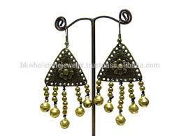 thailand earrings 0002 handmade jewelry set dangle brass bell stitch beaded