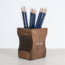 personalised sharpener desk tidy dark wood treat republic