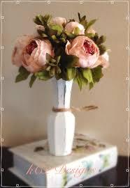 peony arrangement faux silk flower arrangement glass vase painted