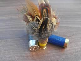 shotgun cartridge pheasant feather brooch by countryfeatherstweed