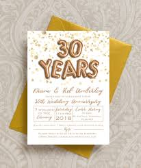 balloon letters gold balloon letters 30th pearl wedding anniversary invitation