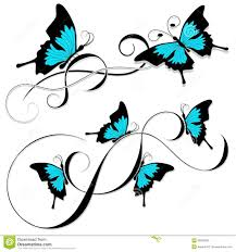 butterfly black blue tribal stock vector image 36902609