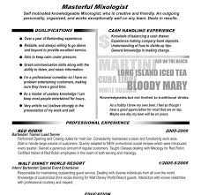 Example Bartender Resume by Mixologist Resume Example Corpedo Com