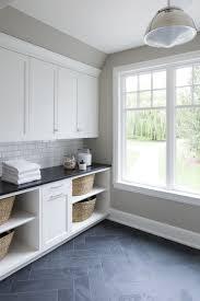 laundry room floor cabinets modern farmhouse grey slate flooring herringbone pattern tynan