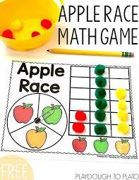 apple race math game fun fall activities kindergarten and math
