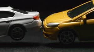 top view car accident close up of toy model car crashes to side