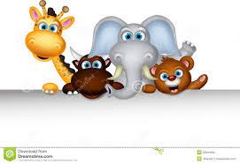 cute wild animal cartoon posing with blank sign stock photos